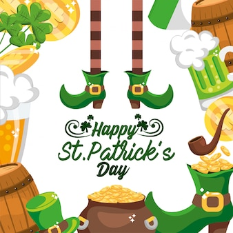 Adesivo happy st patrick con decorazione evento