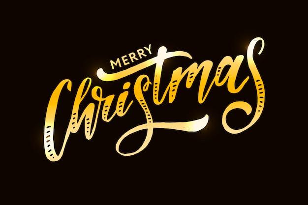 Adesivo natalizio calligrafia pennello testo testo adesivo oro