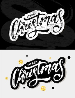 Adesivo natalizio calligrafia pennello testo vacanze oro