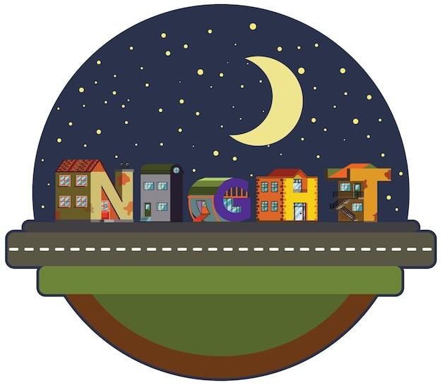 Adesivo notti paesaggio urbano della città alfabetica in stile piano. carattere fatto a mano