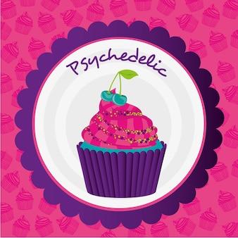Adesivo per cupcake psichedelico