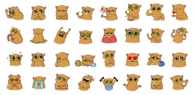 Adesivo per messenger con personaggio buffo criceto. emoticon, emoji per chat. set di adesivi colorati dei cartoni animati. linea illustrazione vettoriale