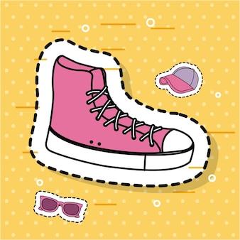 Adesivo rosa icone accessori sport sneaker