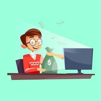 Adolescente che vince soldi nel cartone animato di internet. giovane ragazzo felice ricevendo dollari