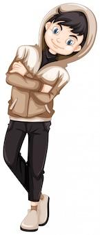 Adolescente in cappuccio marrone