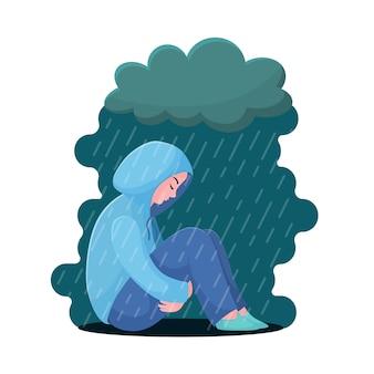Adolescente triste e infelice, giovane donna che si siede in felpa con cappuccio sotto la pioggia, concetto di depressione, stile piano
