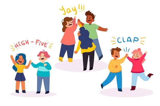 Adolescenti che danno il livello cinque illustrazione