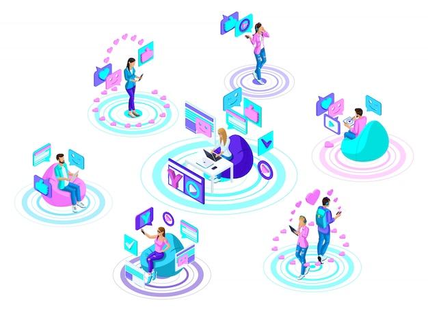 Adolescenti con gadget moderni, comunicano nei social network e in internet. concetto pubblicitario luminoso e colorato