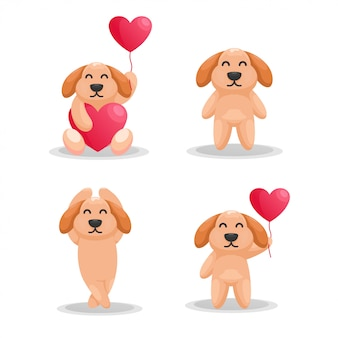 Adorabile cane con amore palloncino fumetto vettoriale