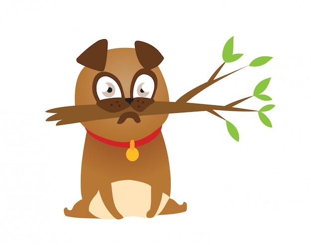 Adorabile cucciolo pug beige con ramo.