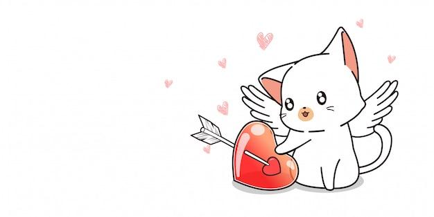 Adorabile cupido gatto e cuore che è trafitto da una freccia