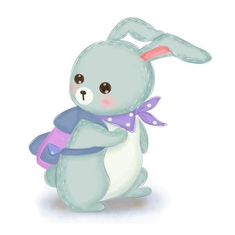 Adorabile illustrazione di coniglio blu per la decorazione della scuola materna