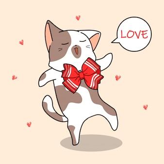 Adorabile personaggio di gatto e papillon con mini cuori