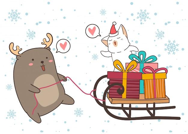Adorabile renna trascina un veicolo a slitta con scatole regalo e gatto