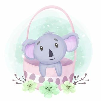Adorabile simpatico koala animale all'interno della borsa