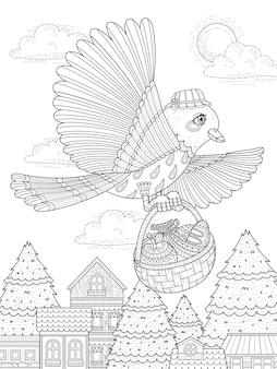 Adorabile uccello porta la pagina da colorare per adulti di cibo