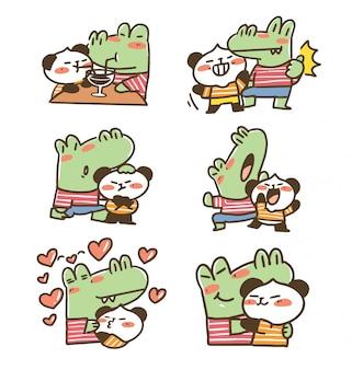 Adorable couple crocodile and panda