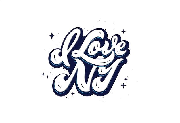 Adoro il logo di new york. frase scritta disegnata a mano isolata su fondo bianco. sceneggiatura scritta a mano