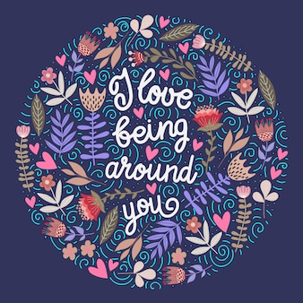 Adoro stare con te - scritte con i fiori