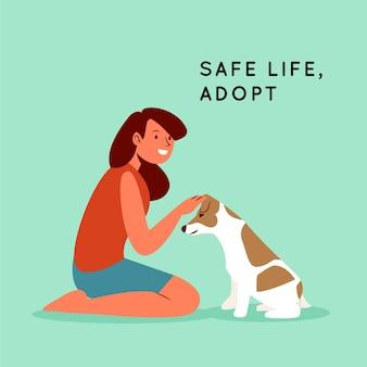 Adotta un concetto di animale domestico con donna e cane