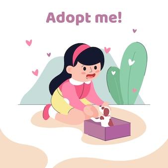 Adotta una ragazza che prende un cucciolo