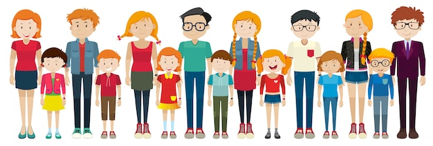 Adulti e bambini in piedi
