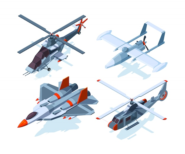 Aerei isometrici. aerei da guerra ed elicottero isolato