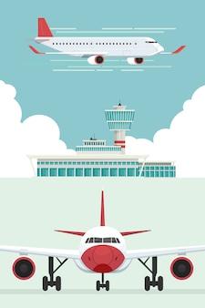 Aereo all'aeroporto arrivi e partenze viaggiano in cielo