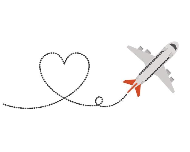 Aereo che vola con il cuore