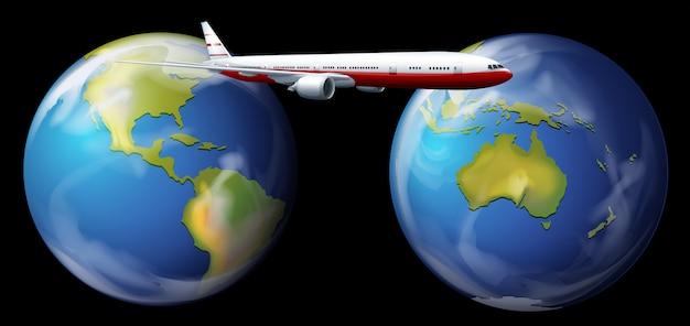 Aereo che vola in tutto il mondo