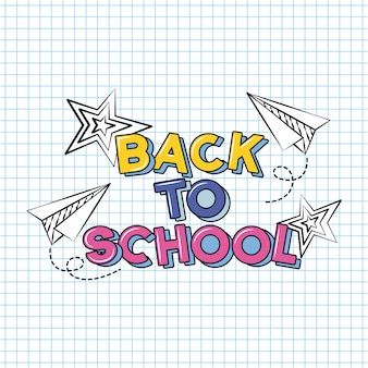 Aereo e stelle, ritorno a scuola doodle disegnato su un foglio a griglia