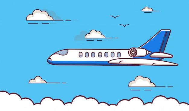 Aereo jet, compagnie aeree passeggeri, viaggi aerei di linea.