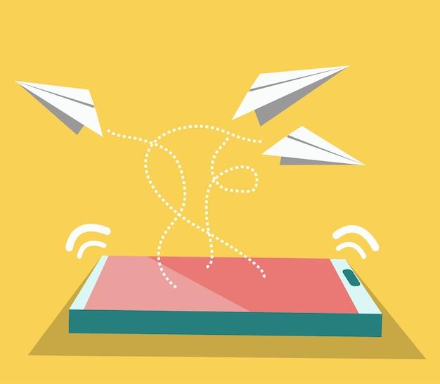Aeroplano di carta che vola da smart phone.