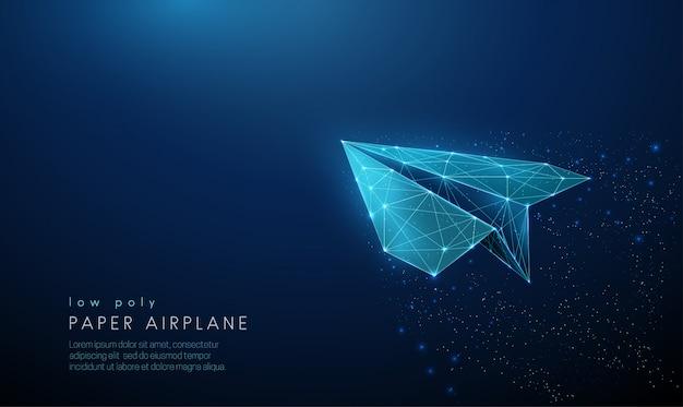 Aeroplano di carta. design in stile poli basso.