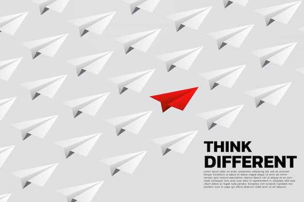 Aeroplano di carta origami rosso in gruppo di bianco