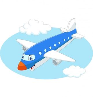 Aeroplano di cartone animato che vola nel cielo