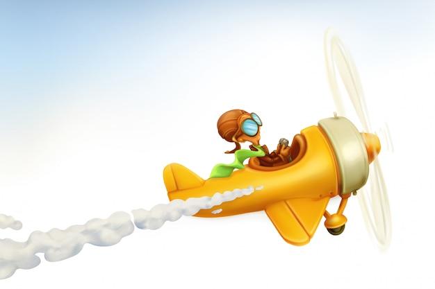 Aeroplano divertente, fumetto di vettore isolato