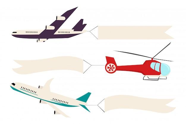 Aeroplano ed elicottero con bordo bianco