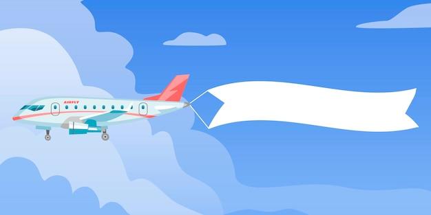 Aeroplano o aereo con la pubblicità in bianco del messaggio e l'insegna del modello del testo