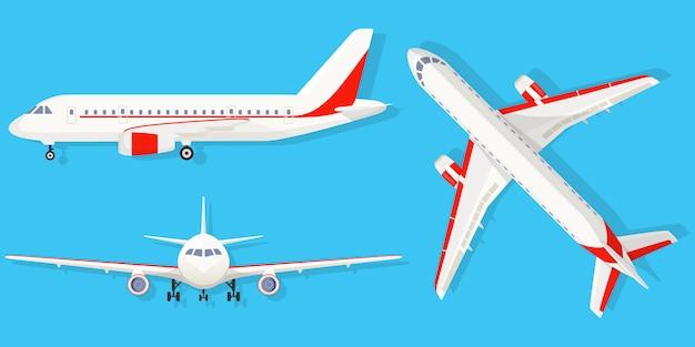 Aeroplano su sfondo blu in diversi punti di vista. aereo di linea in alto, laterale, vista frontale. stile piatto