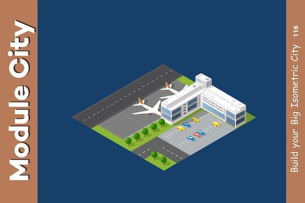 Aeroporto 3d città isometrica