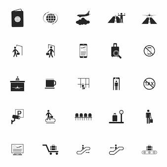 Aeroporto affascinante set di icone