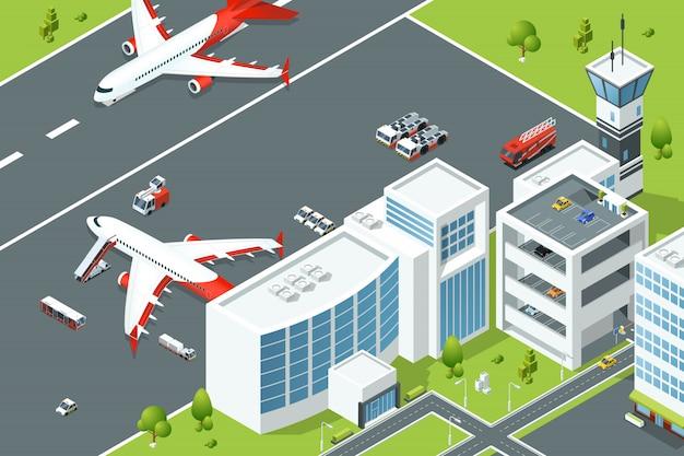 Aeroporto, controlla gli edifici degli aerei. rampa piana e diverse macchine di supporto sulla pista. isomet