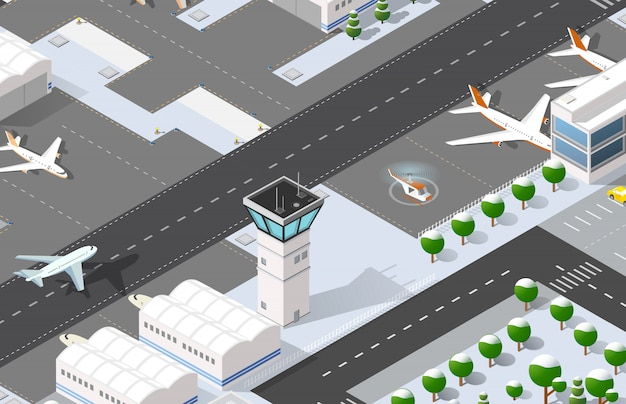 Aeroporto isometrico 3d