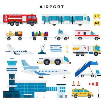 Aeroporto, set di icone. costruzione dell'aeroporto, torre di controllo, aeromobili, veicoli dei servizi di terra dell'aeroporto