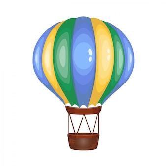 Aerostato a strisce multicolore simpatico cartone animato