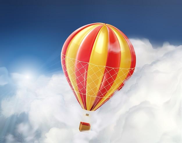 Aerostato nelle nuvole, illustrazione