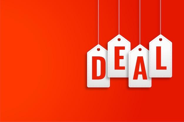 Affare banner promozionale in stile cartellino del prezzo appeso
