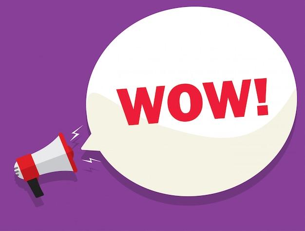 Affare del messaggio di wow dall'illustrazione del megafono