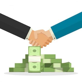 Affare o accordo di successo della stretta di mano vicino all'illustrazione di vettore del mucchio dei soldi